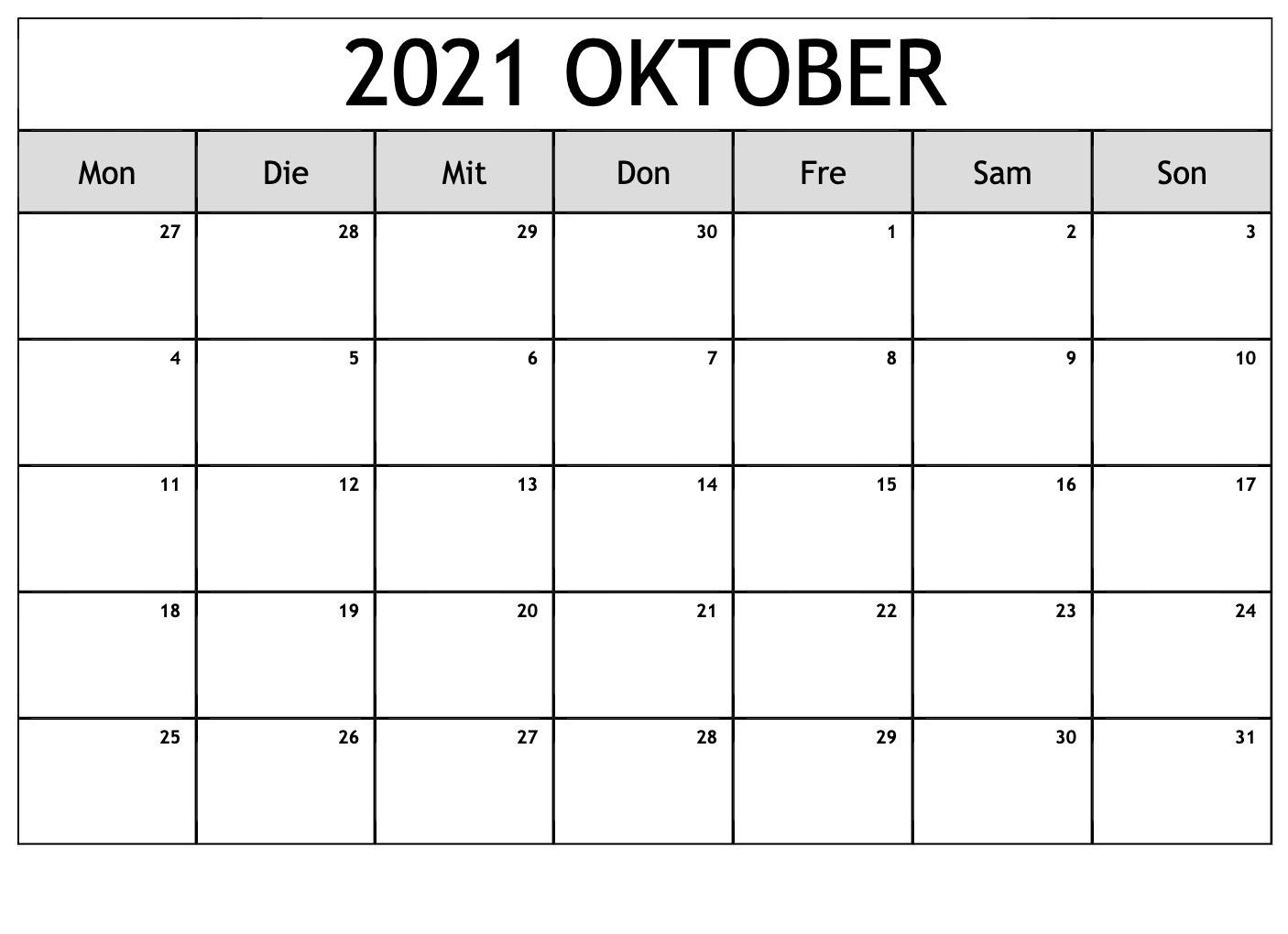 Kalender Oktober 2021 Drucken