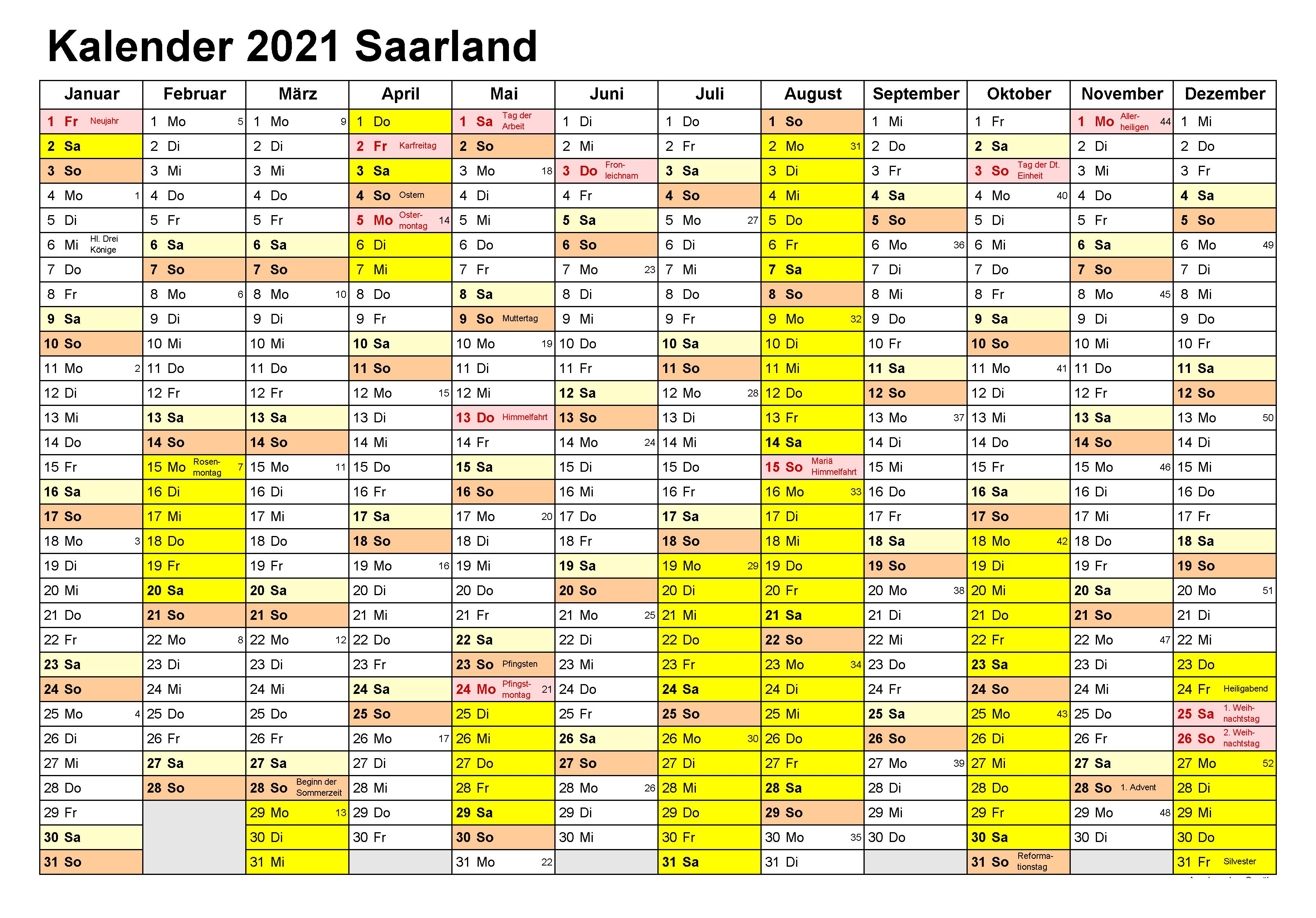 Kalender Saarland 2021 Zum Ausdrucken