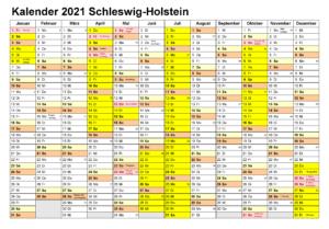 Kalender Schleswig-Holstein 2021 Zum Ausdrucken