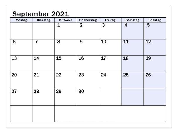 Kalender 2021 September Zum Ausdrucken