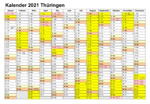 Kalender Thuringia 2021 Zum Ausdrucken