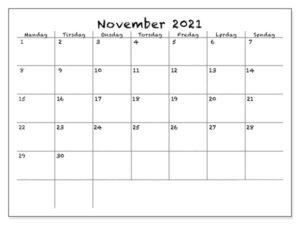 November 2021 Kalender Drucken