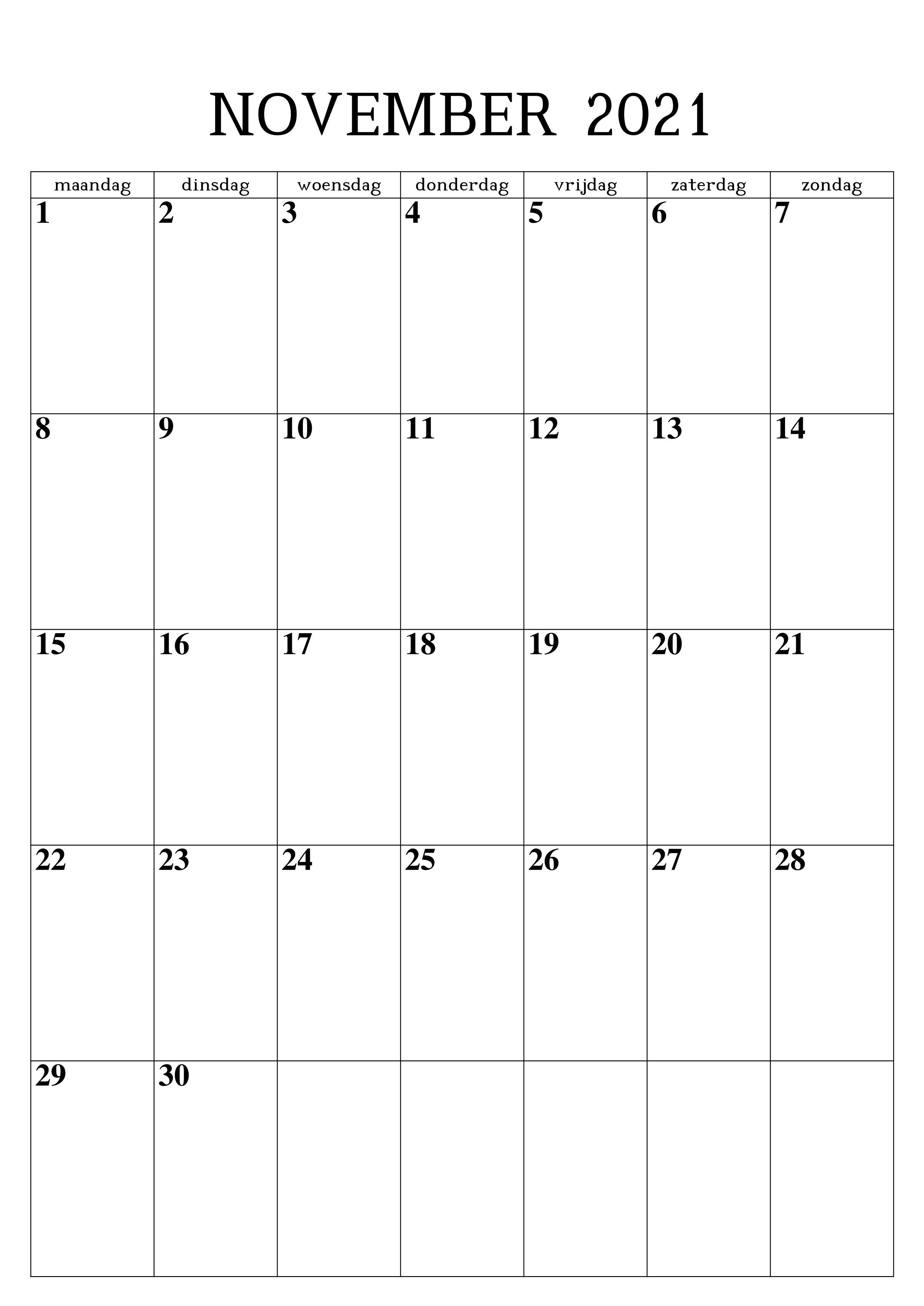 Monats November 2021 Kalender