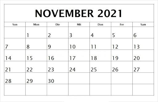 November 2021 Kalender Ausdrucken