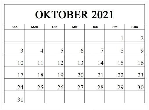 Kalender Oktober 2021 Ausdrucken