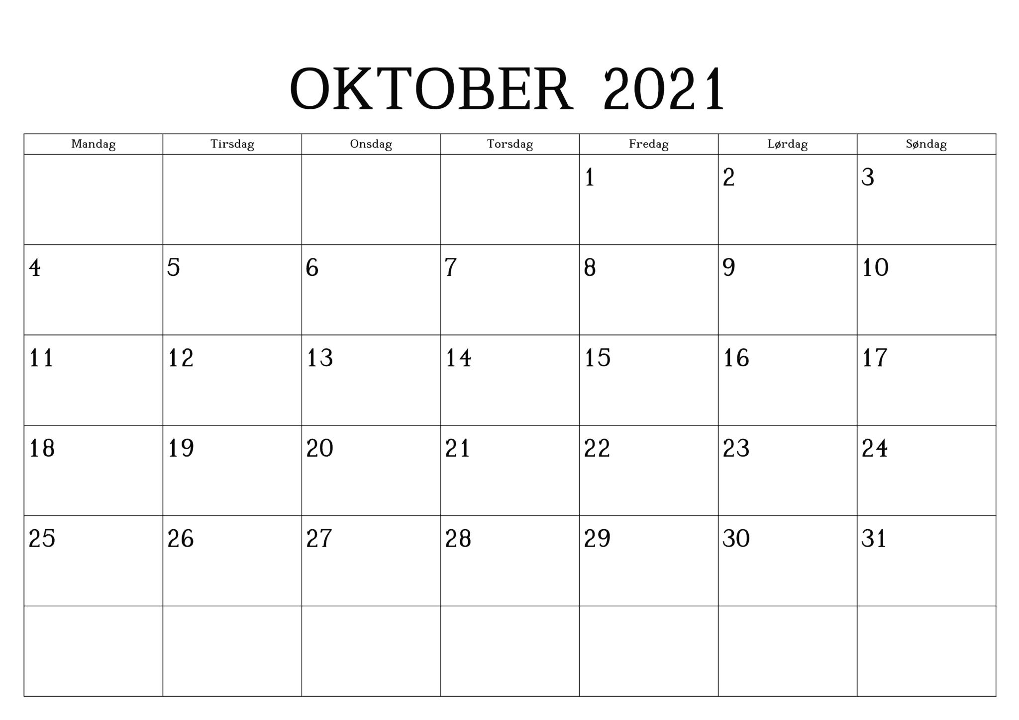 Kalender 2021 Oktober Zum Ausdrucken | Druckbarer 2021 ...