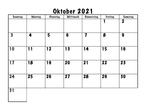 Frei Kalender Oktober 2021 Ausdrucken