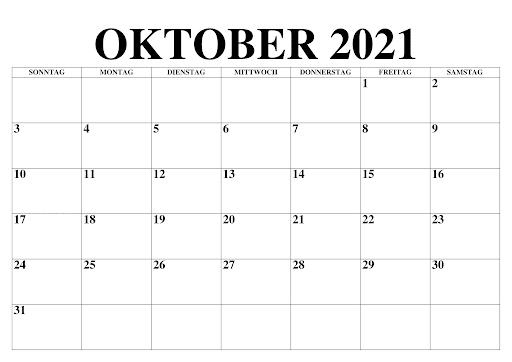 Frei Oktober 2021 Kalender Zum Ausdrucken [PDF, Excel ...