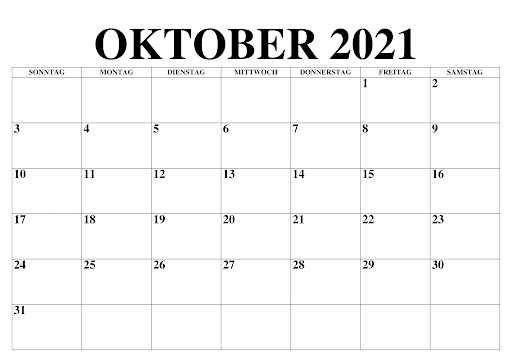 Oktober 2021 Kalender