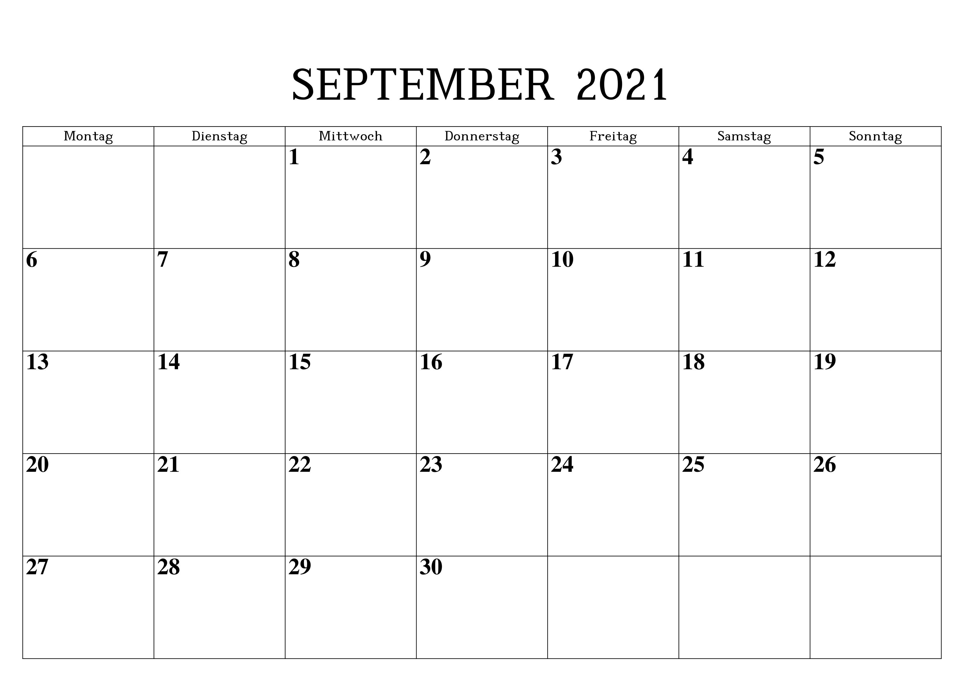 Monats Kalender September 2021
