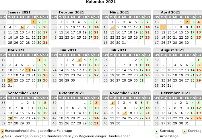 Sommerferien 2021 Mecklenburg-Vorpommern Kalender PDF