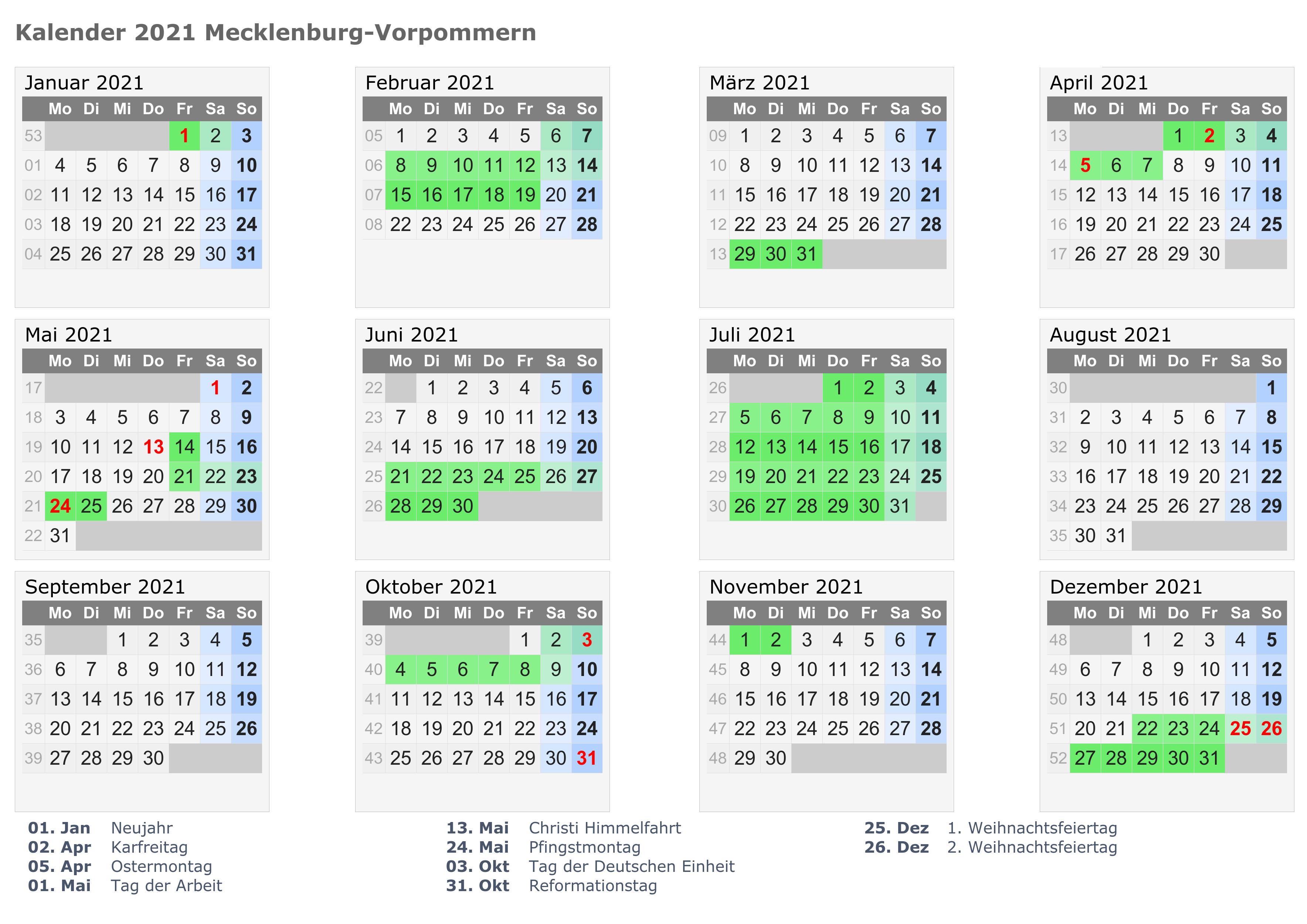 Kalender Mecklenburg-Vorpommern 2021 Zum Ausdrucken