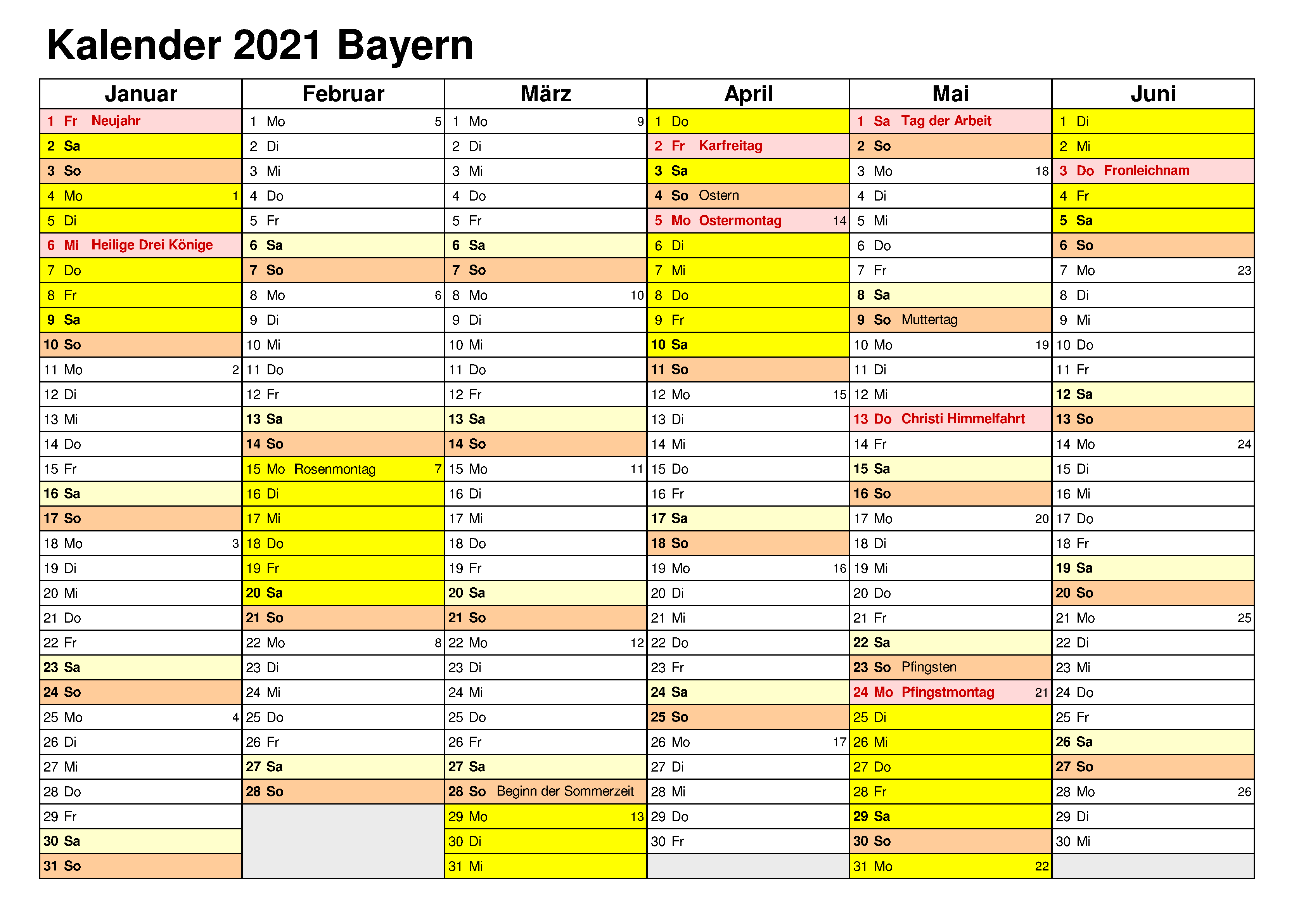 Sommerferien Bavaria 2021 Excel Word