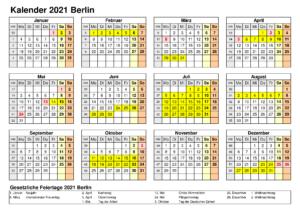 Sommerferien Berlin 2021 Excel Word