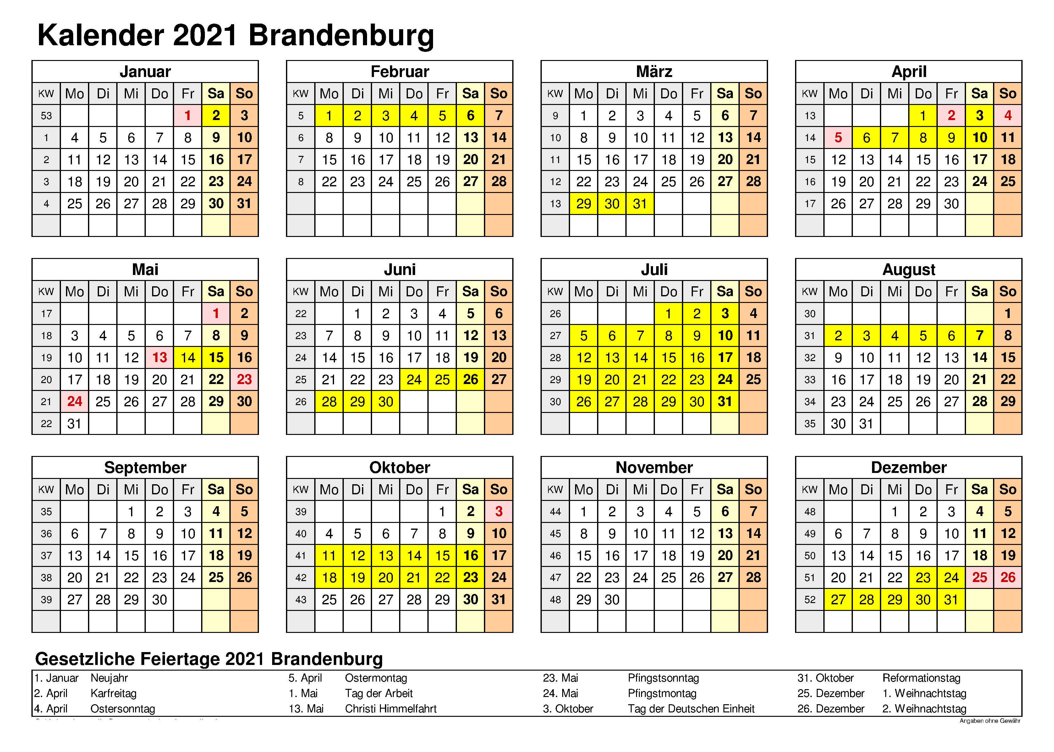 Sommerferien Brandenburg 2021 Kalender Excel Word
