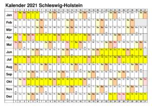 Sommerferien Schleswig-Holstein 2021 Kalender Excel Word