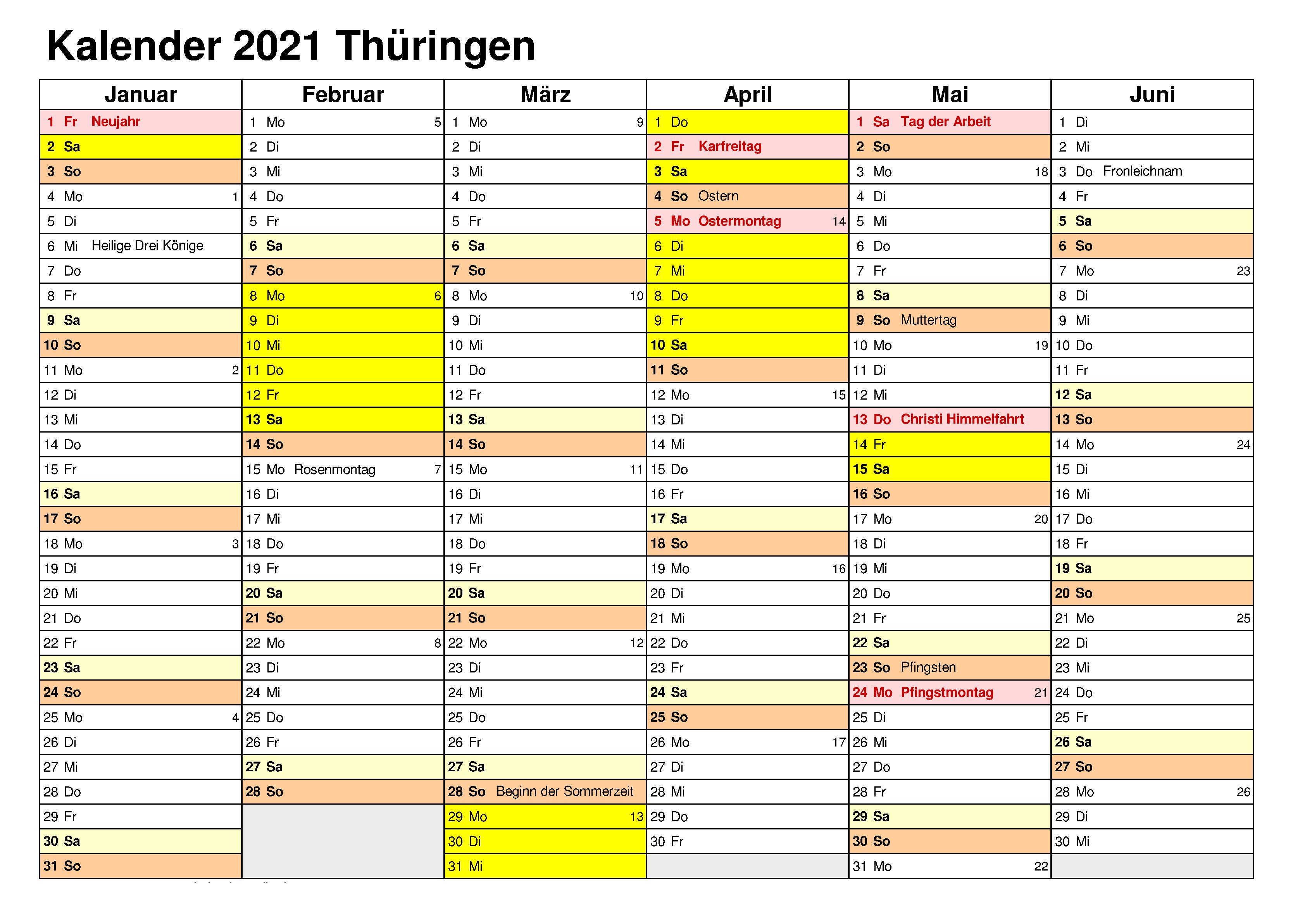 Sommerferien Thuringia 2021 Kalender Excel Word