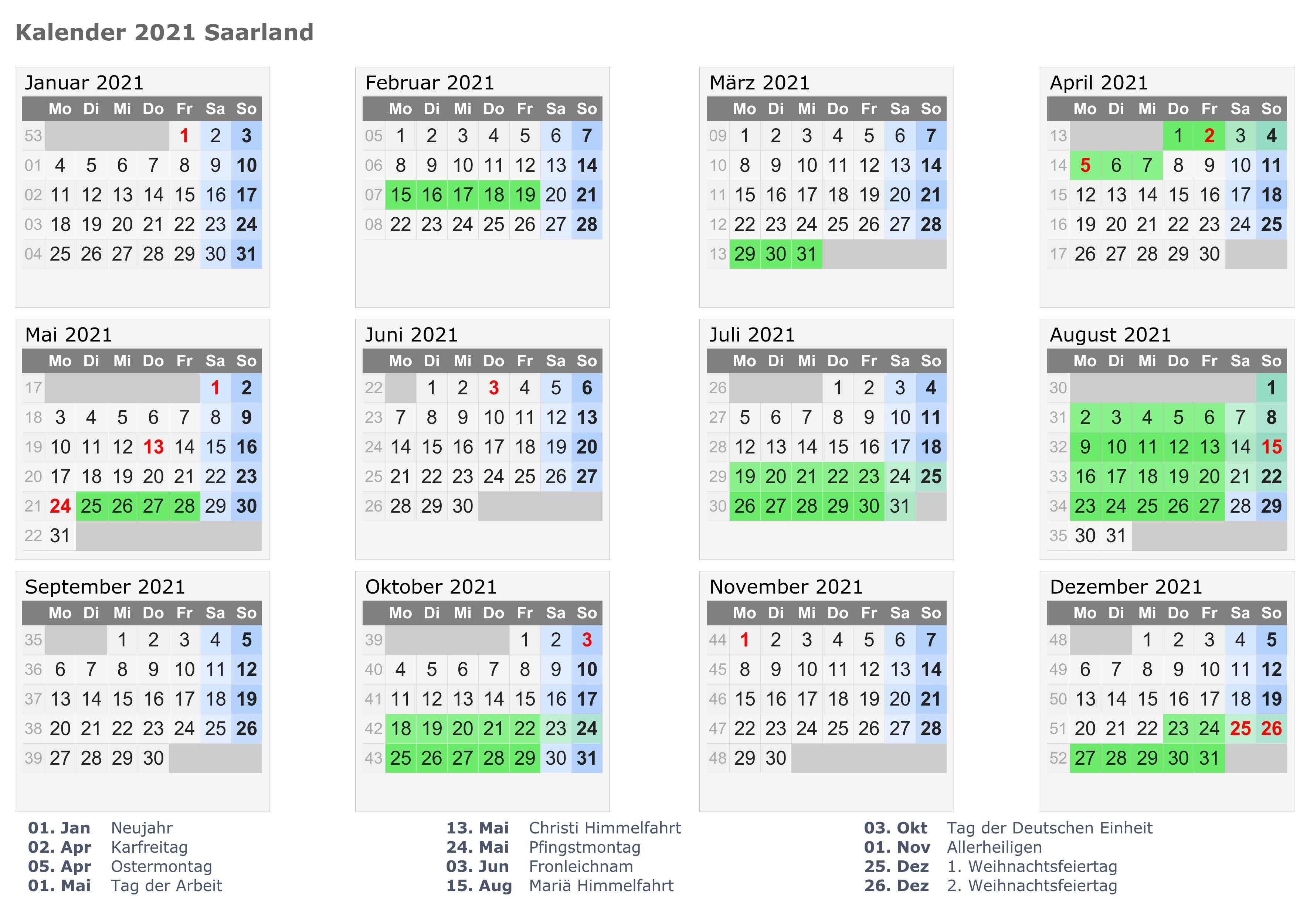 Wann Sind Die Sommerferien Saarland 2021? | Druckbarer ...