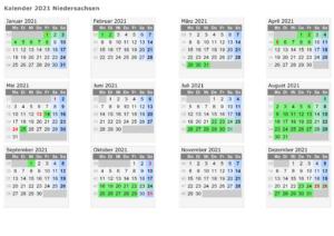 Sommerferien Niedersachsen 2020 Kalender Excel Word