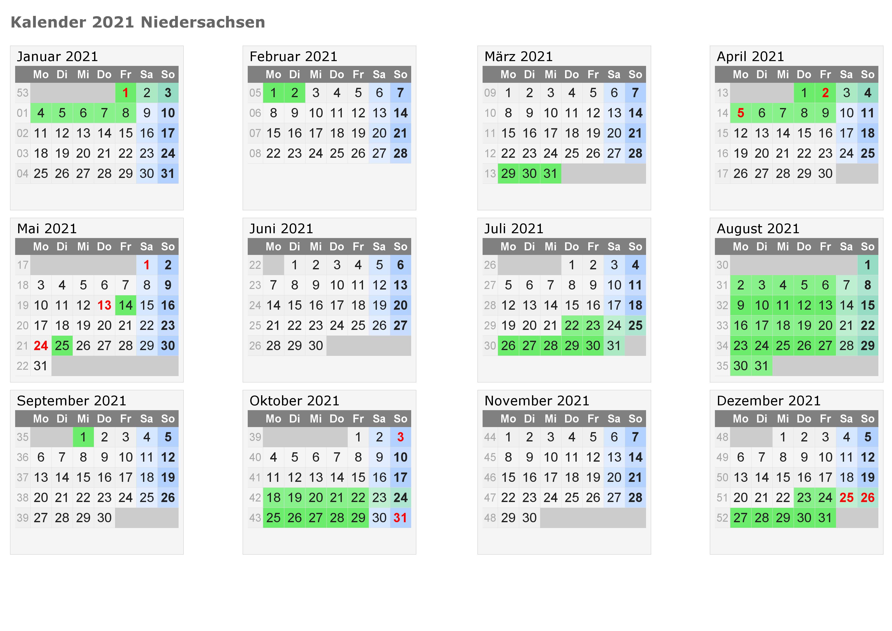 Sommerferien Niedersachsen 2021 Kalender Excel Word