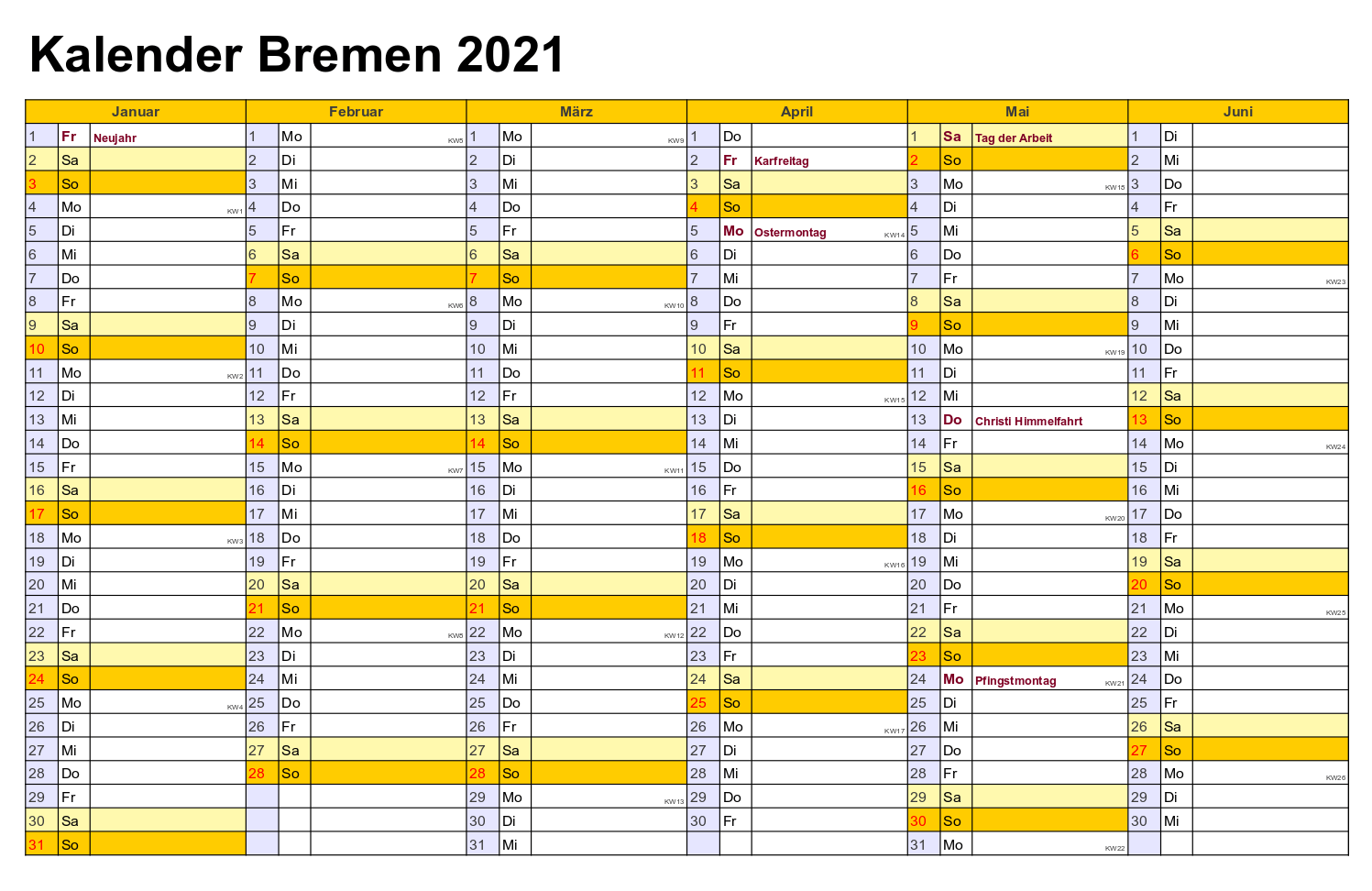 Feiertagen 2021 Bremen Kalender