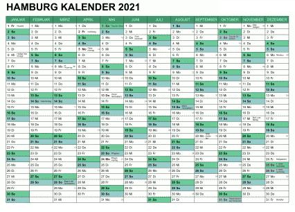 Sommerferien 2021 Hamburg Kalender PDF