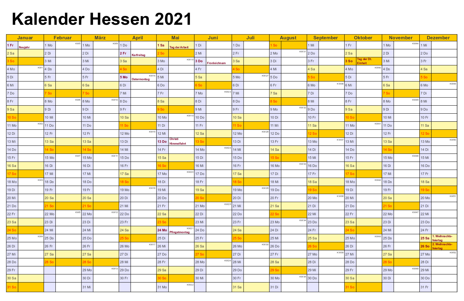 Feiertagen 2021 Hessen Kalender