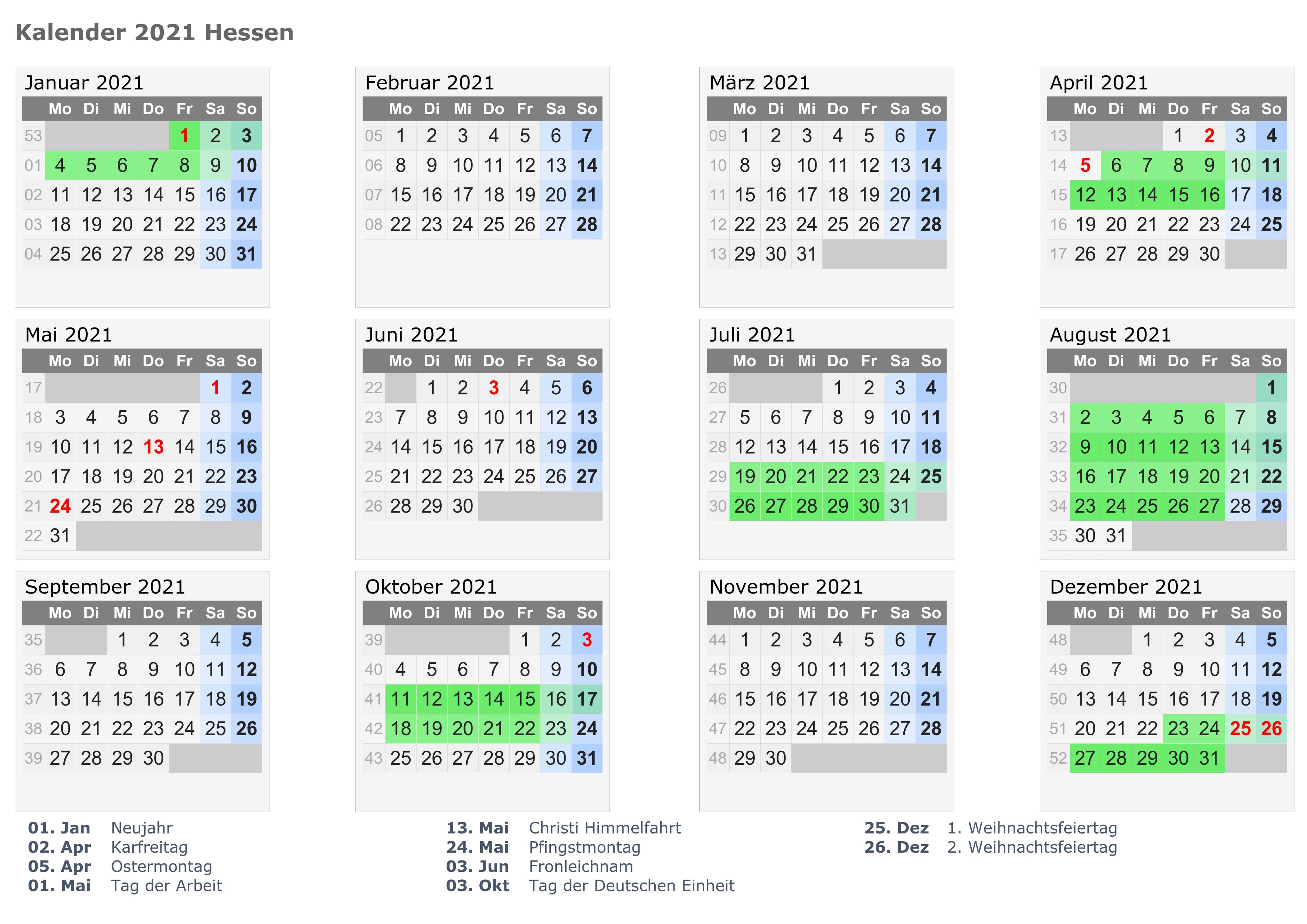 Hessen 2021 Kalender Zum Ausdrucken