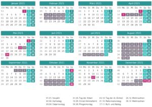 Kalender Sachsen 2021 Zum Ausdrucken