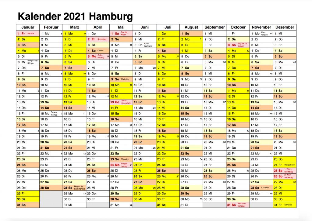 Feiertagen 2021 Hamburg Kalender