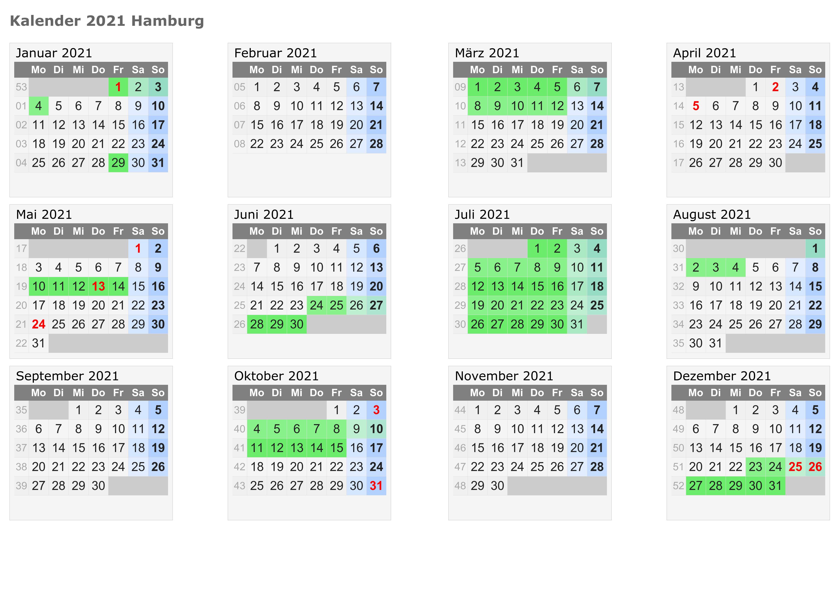 Kalender Hamburg 2021 Zum Ausdrucken