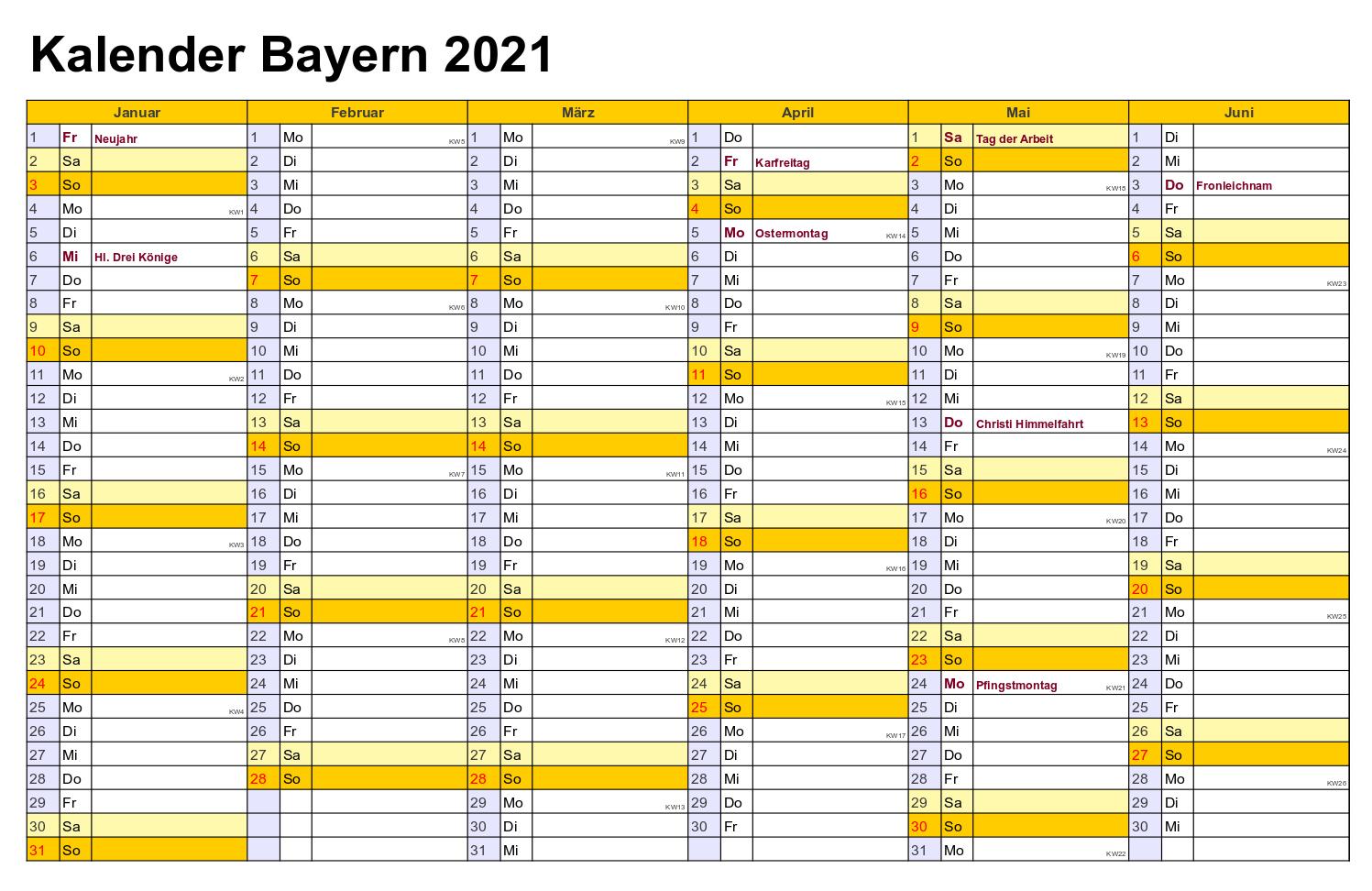 Sommerferien Bayern 2021 Kalender Excel