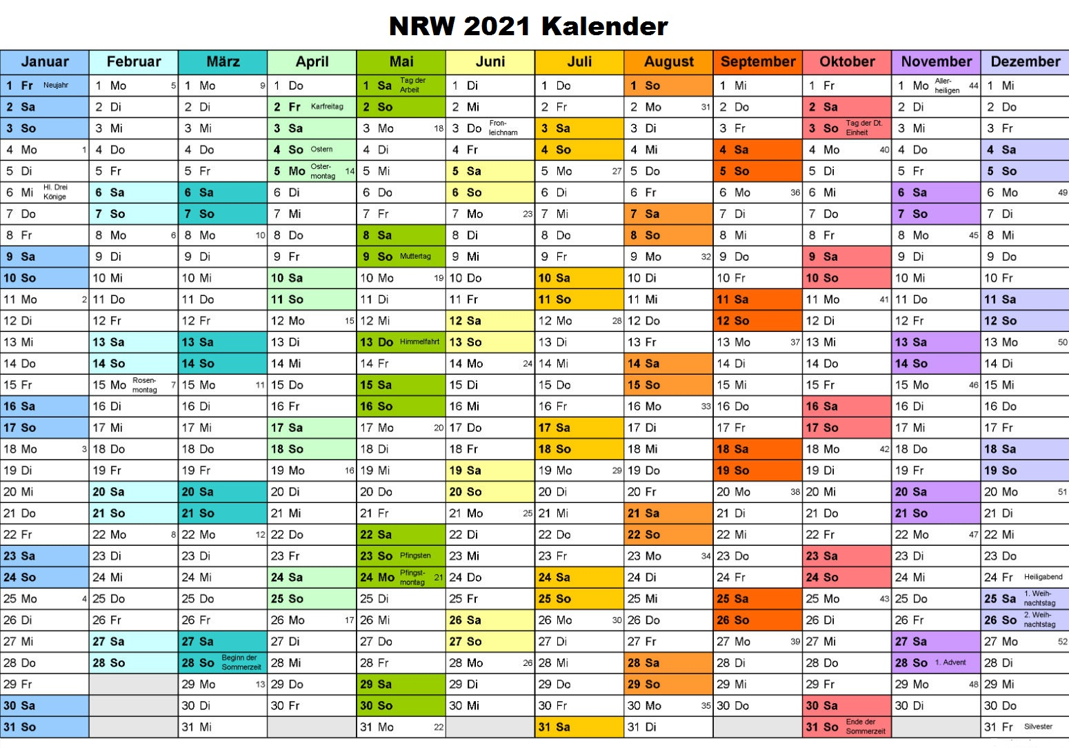 Sommerferien 2021 NRW Kalender PDF