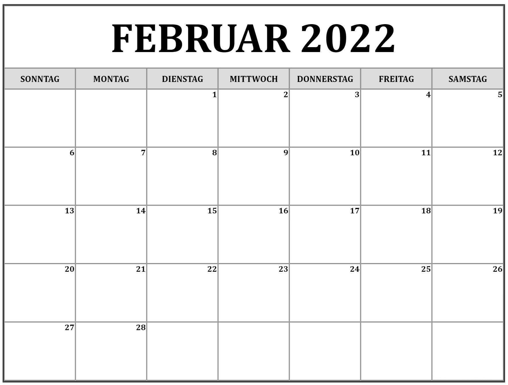 Februar 2022 Kalender PDF