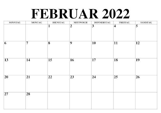 Februar 2022 Kalender