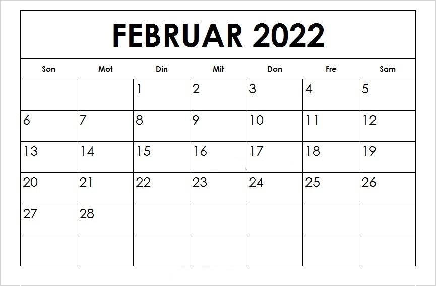 Frei Kalender Februar 2022 Ausdrucken