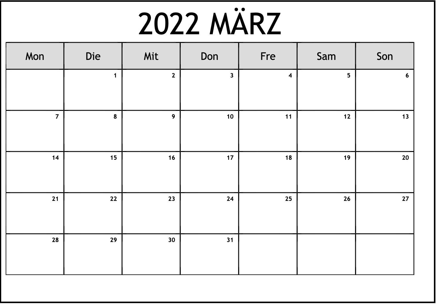Frei Kalender März 2022 Ausdrucken