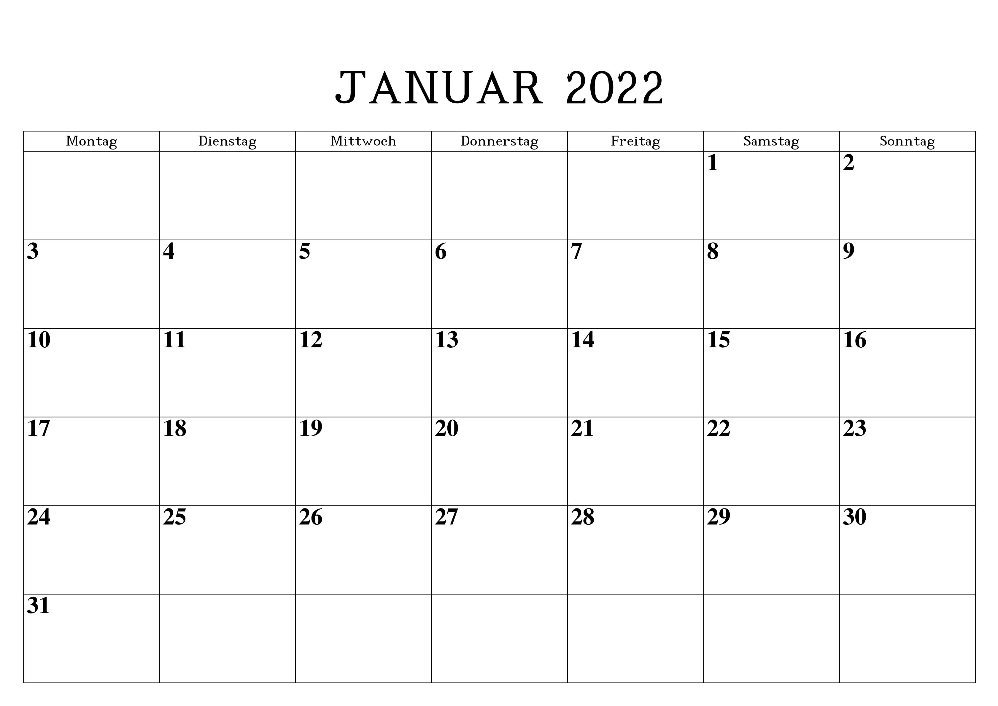 Januar 2022 Kalender