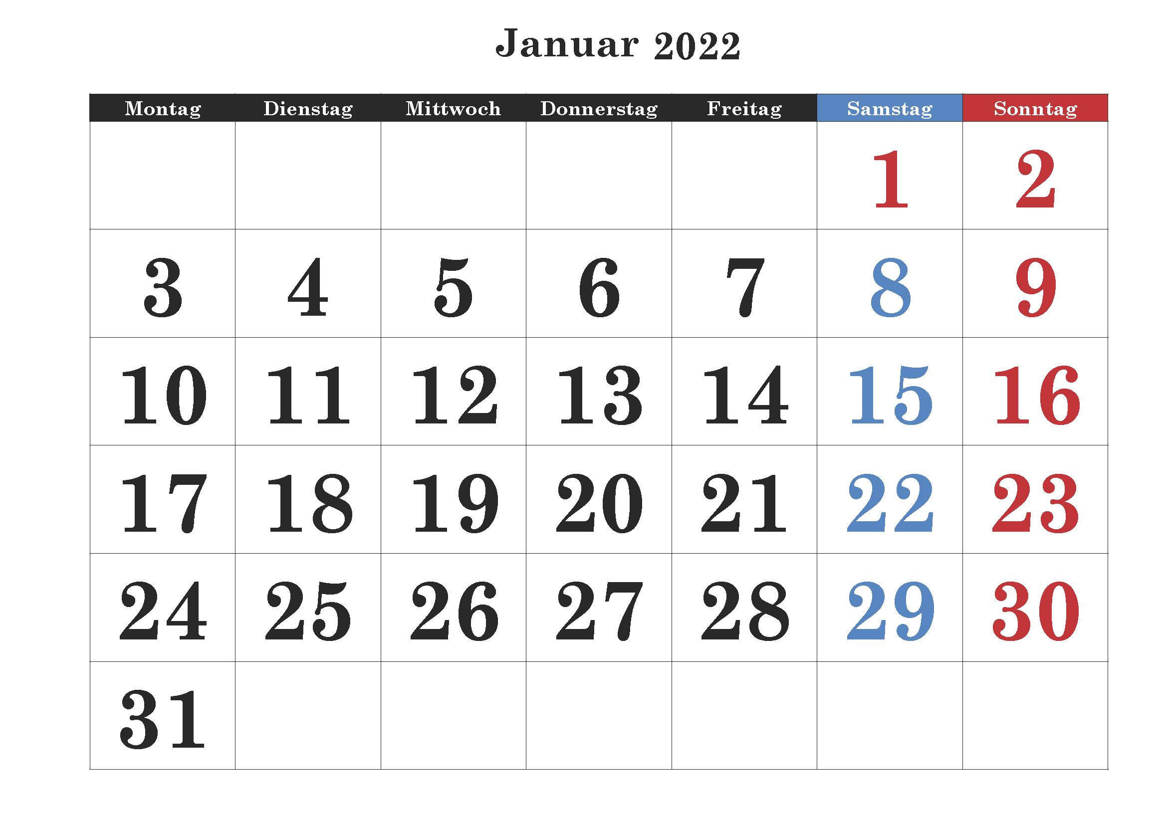 Januar Kalender 2022 Zum Ausdrucken