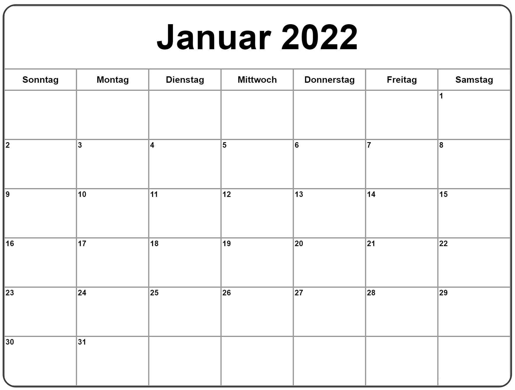 Kalender 2022 Januar