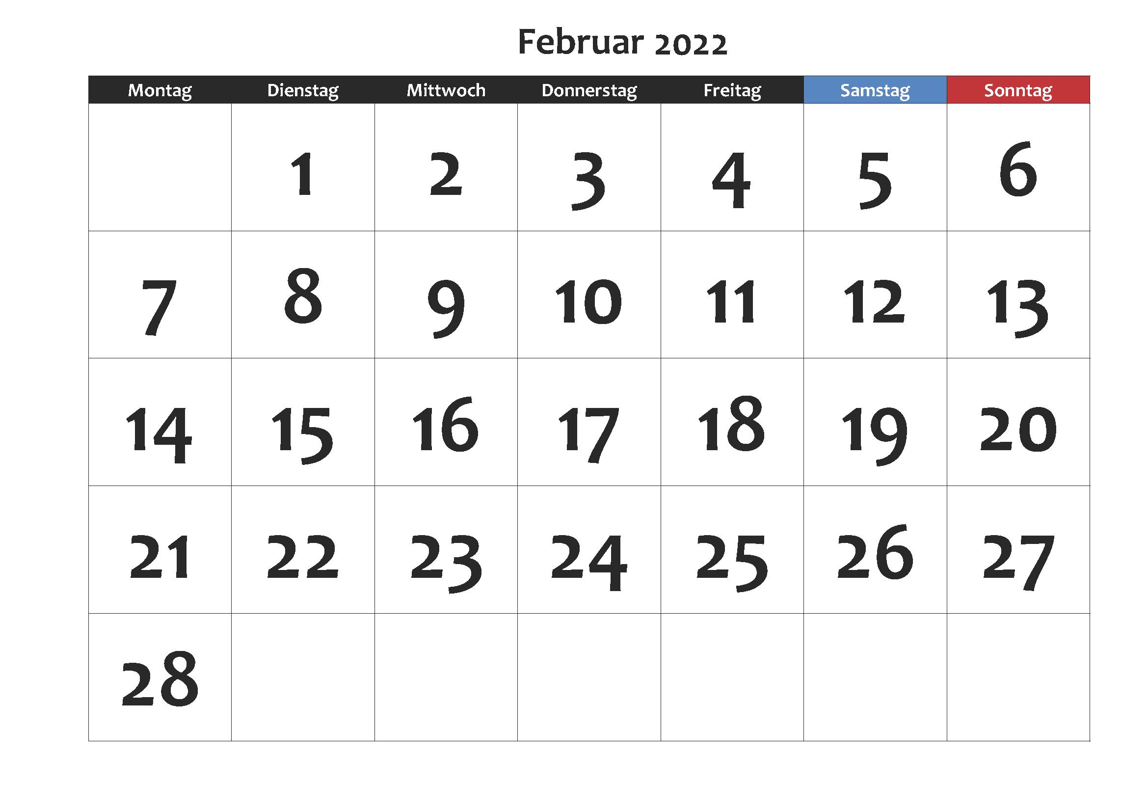 Kalender Februar 2022 Ausdrucken