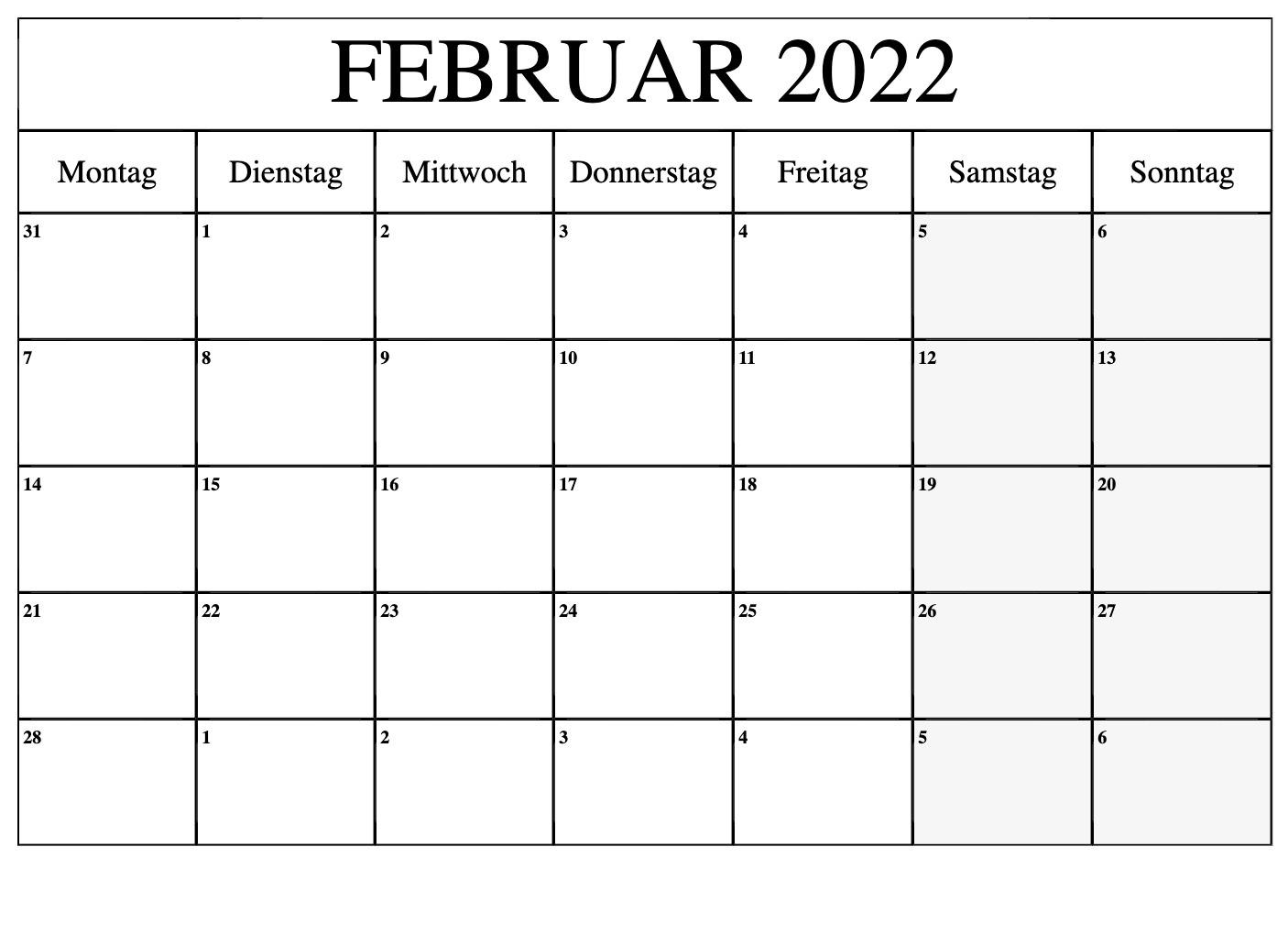 Kalender Februar 2022 Drucken