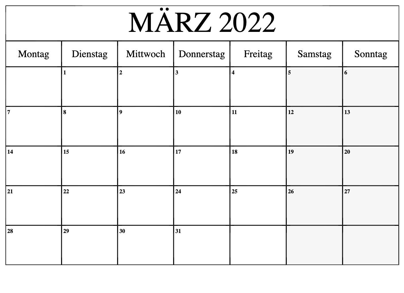 Kalender März 20212 Ausdrucken