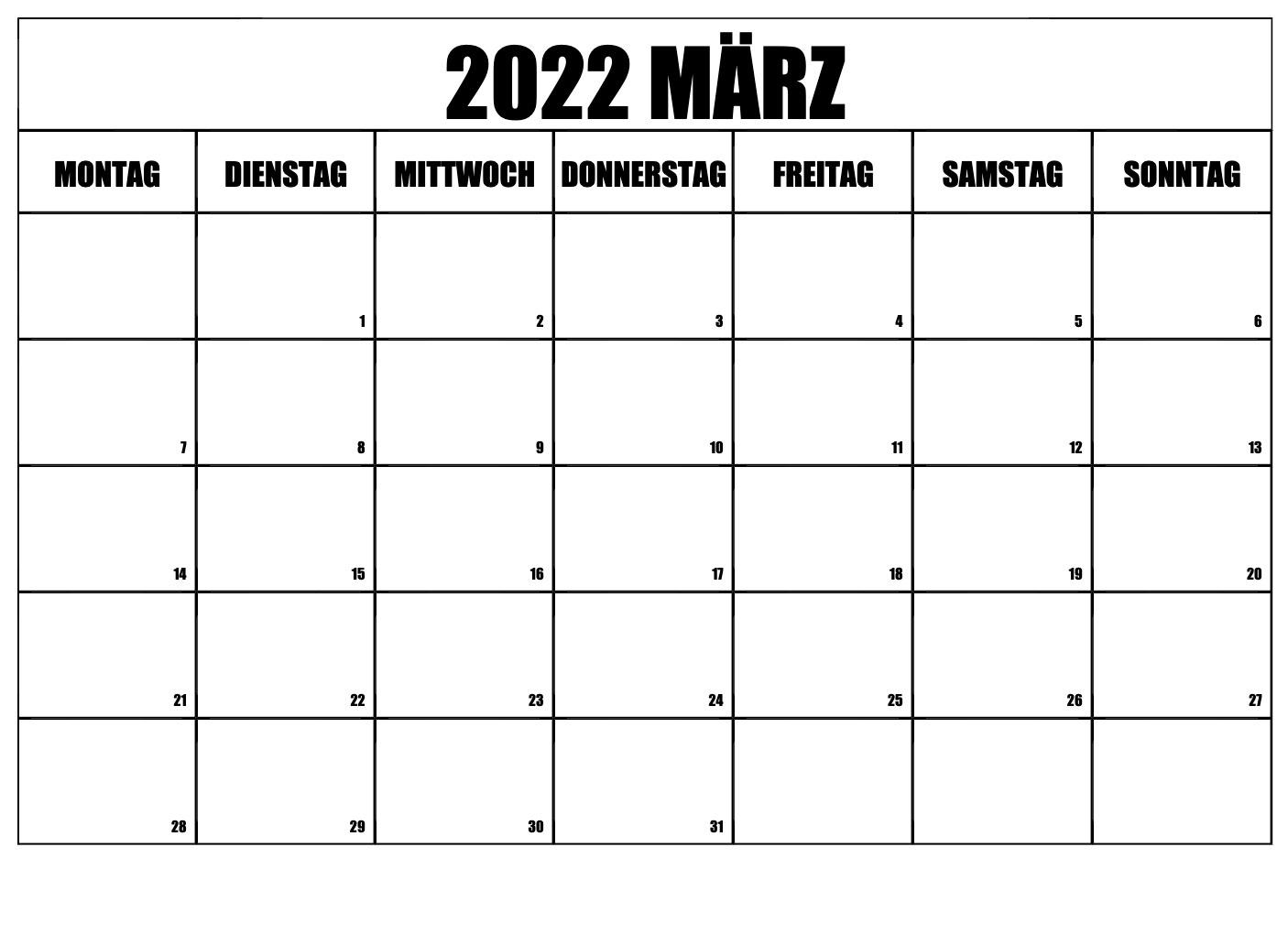 Kalender März 2022 Drucken