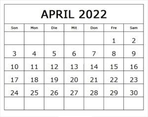 April 2022 Kalender Ausdrucken