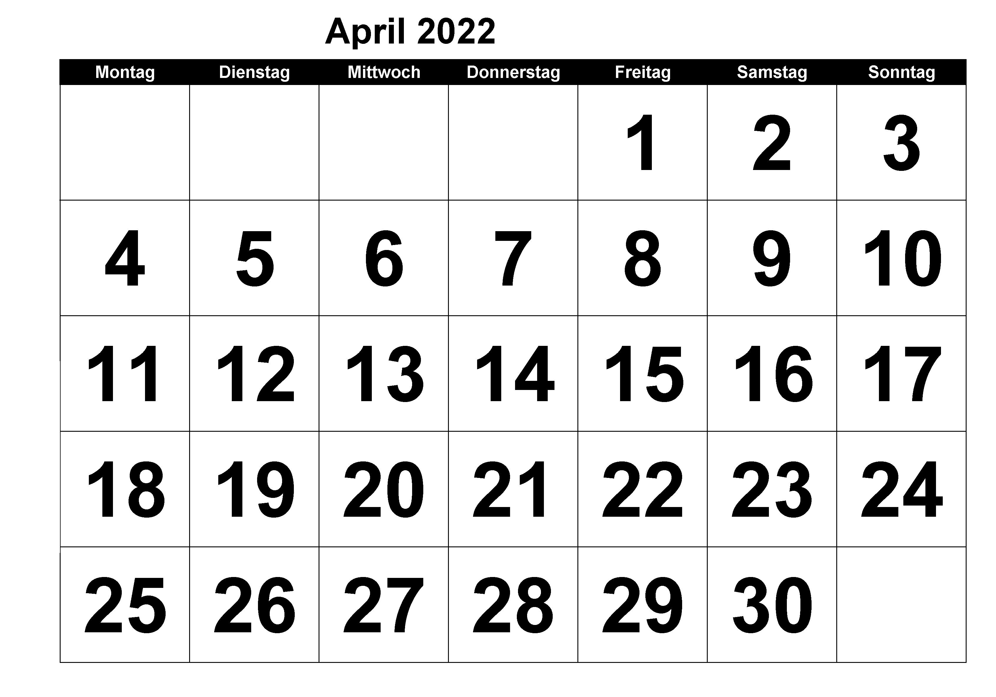 April 2022 Kalender PDF