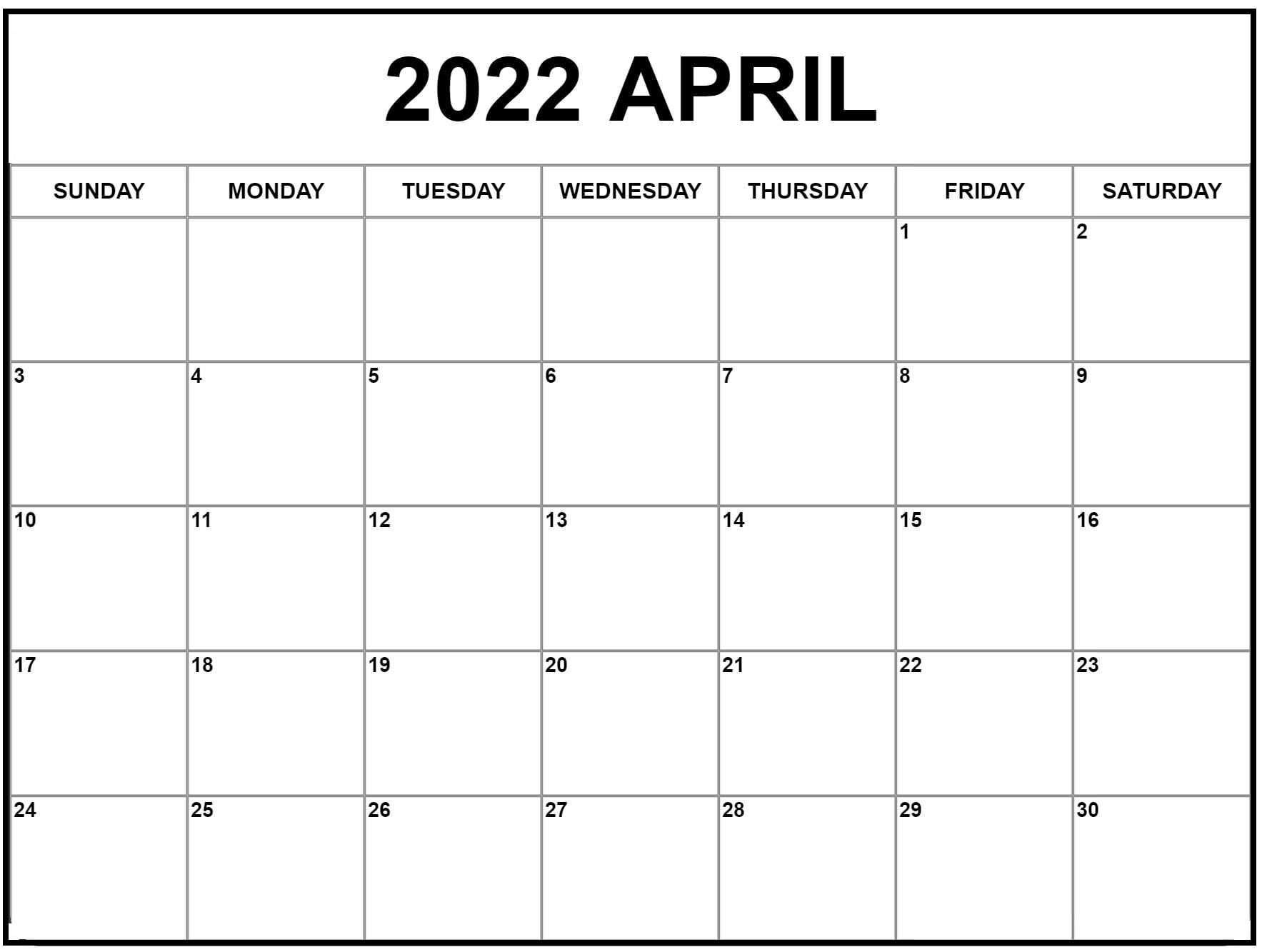 April 2022 Kalender Zum Ausdrucken