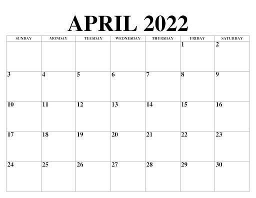 April 2022 Kalender