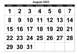 August 2022 Drucken Kalender