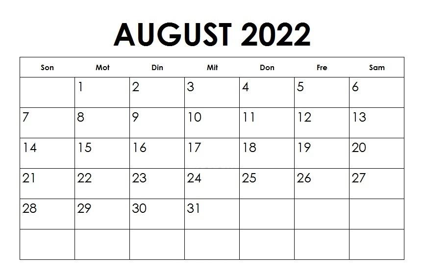August 2022 Kalender PDF